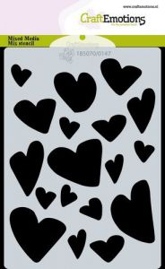 CraftEmotions Mask stencil Love Puns - harten A6 Carla Creaties
