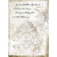 Stamperia Rice Paper A4 Romantic Journal Manuscrips