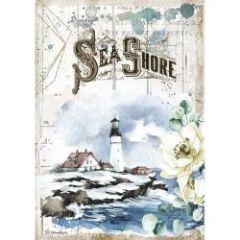 Stamperia Rice Paper A4 Romantic Sea Dream Sea Shore