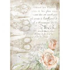 Stamperia Rice Paper A4 Romantic Threads Scissors and Roses