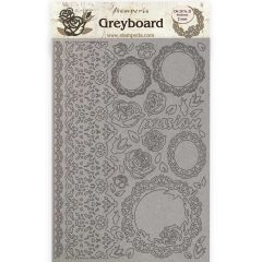 Stamperia Greyboard A4 Passion Lace and Roses