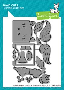 Lawn Fawn custom craft dies tiny gift box unicorn and horse add-on
