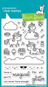 Lawn Fawn 4x6 clear stamp set unicorn picnic
