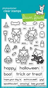 Lawn Fawn 4x6 clear stamp set fox costumes before 'n afters