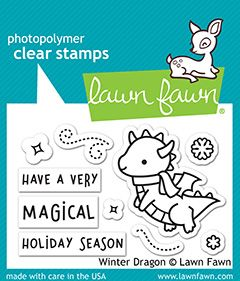 Lawn Fawn 2x3 clear stamp set winter dragon
