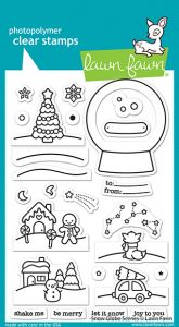 Lawn Fawn 4x6 clear stamp set snow globe scenes