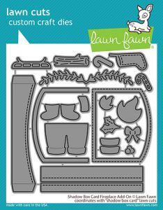 Lawn Fawn custom craft dies shadow box card fireplace add-on