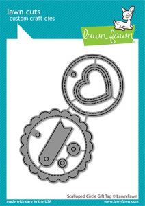 Lawn Fawn custom craft dies scalloped circle gift tag