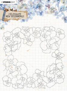 Studio Light Clear Stamp background Celebrate new beginnings nr.518 150x150mm