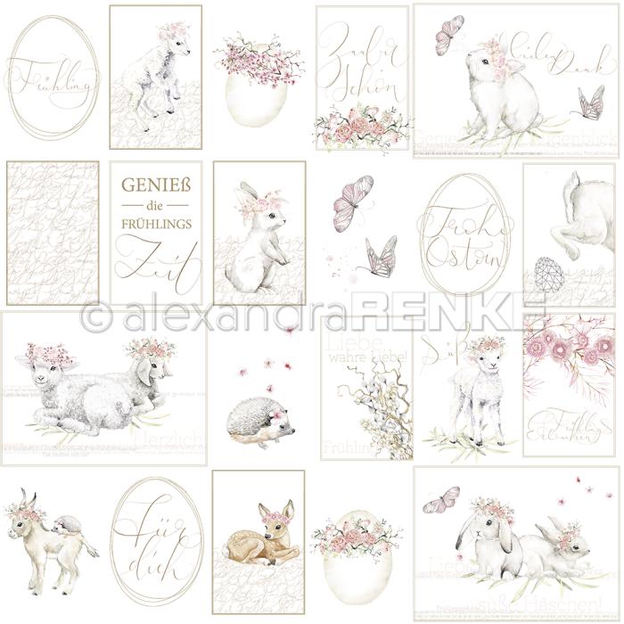 Alexandra Renke Design paper 'Card sheet rose spring time'