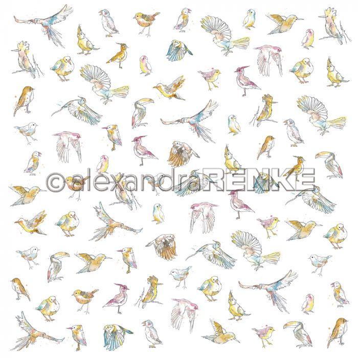 Alexandra Renke Designpaper 'Paradise many different birds'