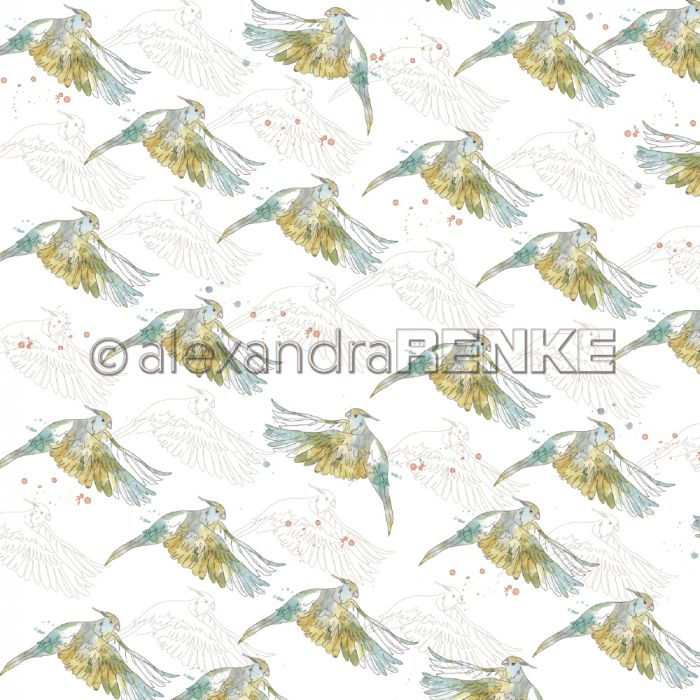Alexandra Renke Designpapier 'Paradise many green birds'