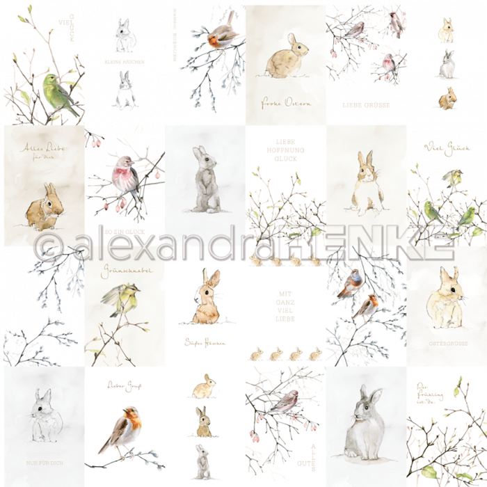 Alexandra Renke Designpaper 'Card sheet Bunnies and Birdies gold'