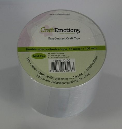 CraftEmotions EasyConnect (dubbelzijdig klevend) Craft tape 100mm