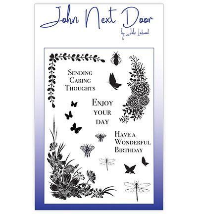 John Next Door Clear Stamp A6 Butterfly Corners (17 pcs)