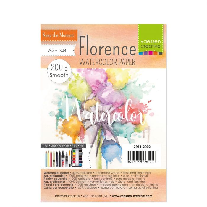 Florence Watercolor paper smooth 200g. A5 24pcs