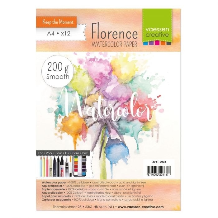 Florence Watercolor paper smooth 200g. A4 12pcs