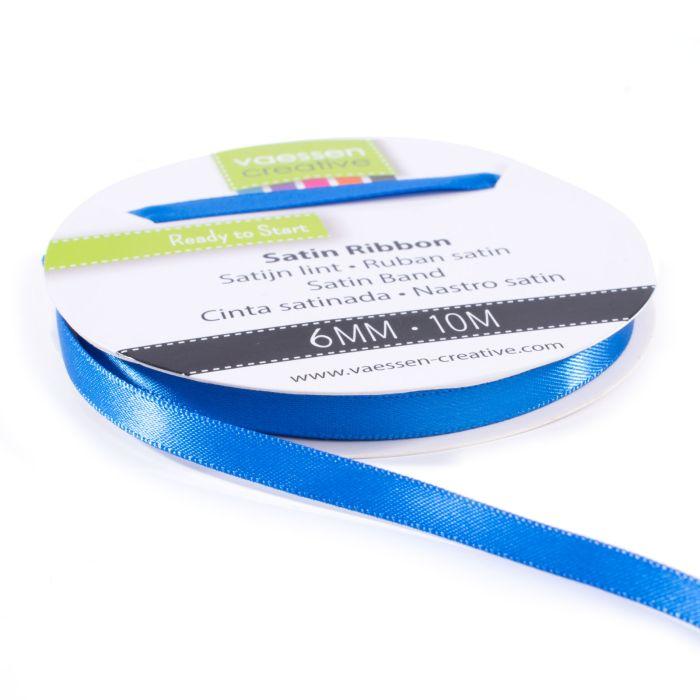 Vaessen Creative Satijnlint dubbel 6 mm 10 meter Blauw