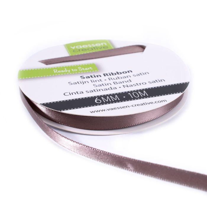 Vaessen Creative Satijnlint dubbel 6 mm 10 meter Melkchocolade