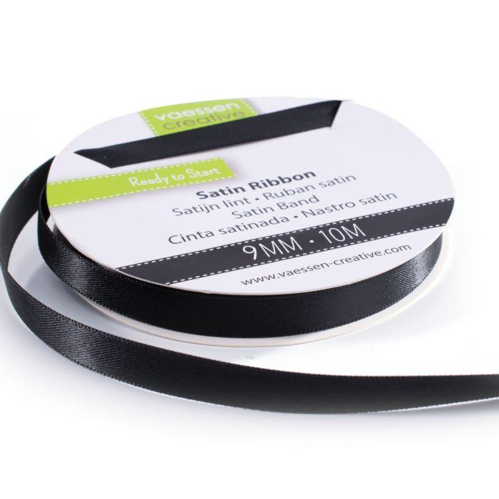 Vaessen Creative Satijnlint dubbel 9 mm Zwart