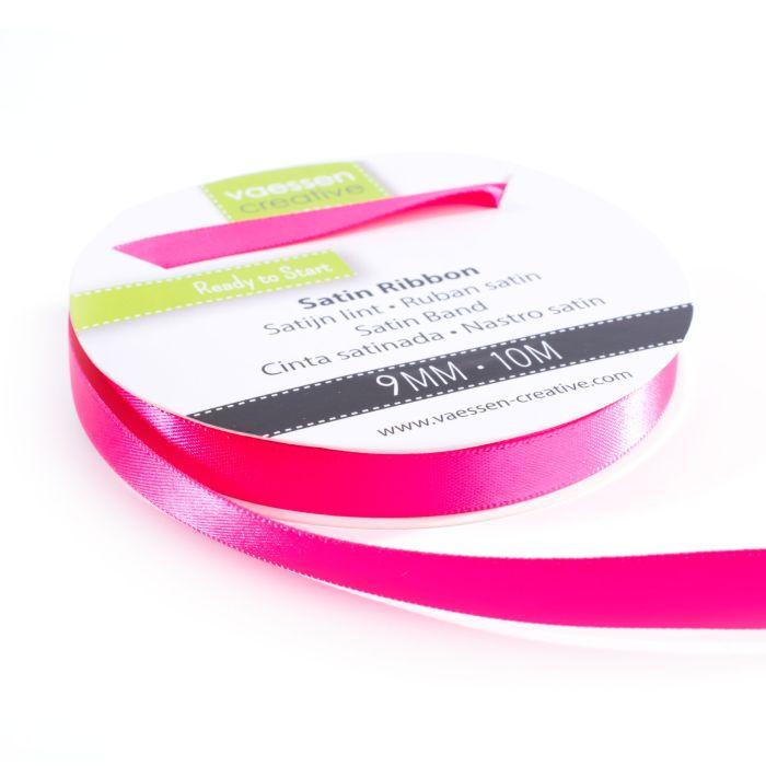 Vaessen Creative Satijnlint dubbel 9 mm Pink