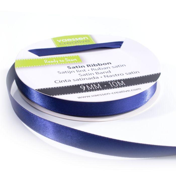 Vaessen Creative Satijnlint dubbel 9 mm Donkerblauw