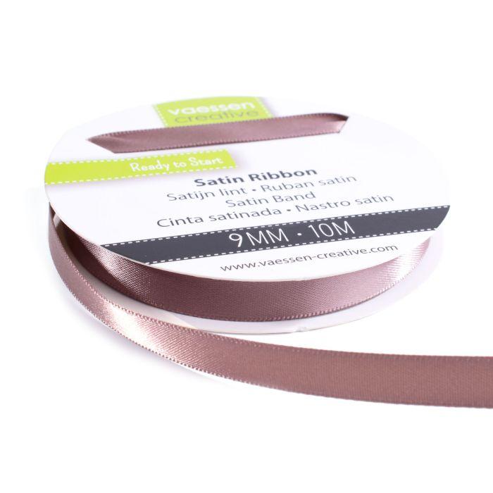 Vaessen Creative Satijnlint dubbel 9 mm Melkchocolade