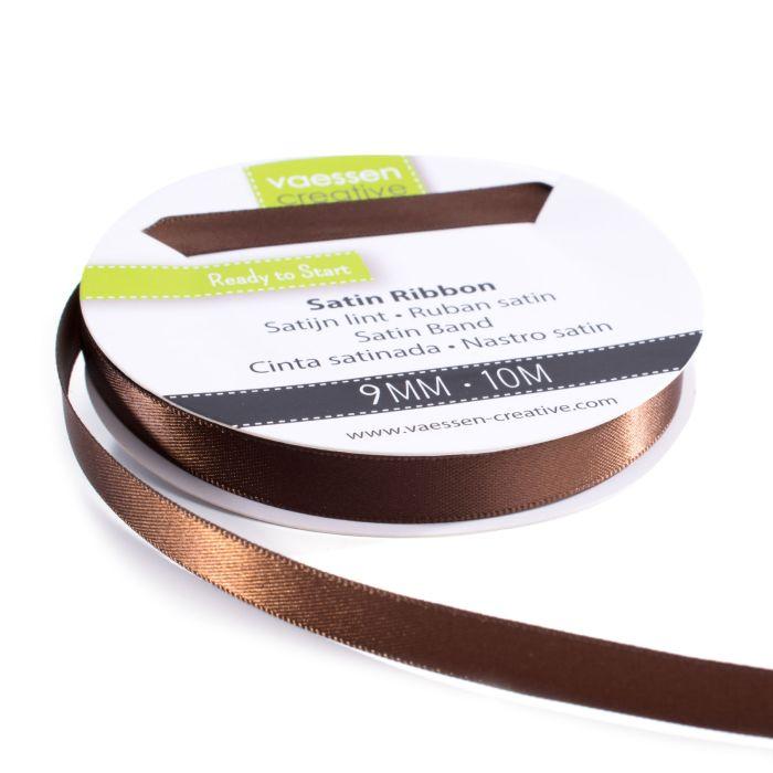 Vaessen Creative Satijnlint dubbel 9 mm Bruin