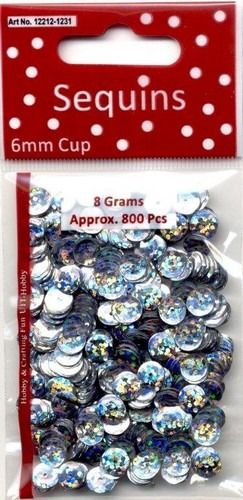 Pailletten facon hologram zilver 6 mm 8 GR