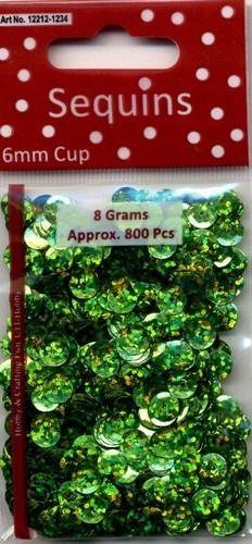 Pailletten facon hologram lichtgroen 6 mm 8 GR