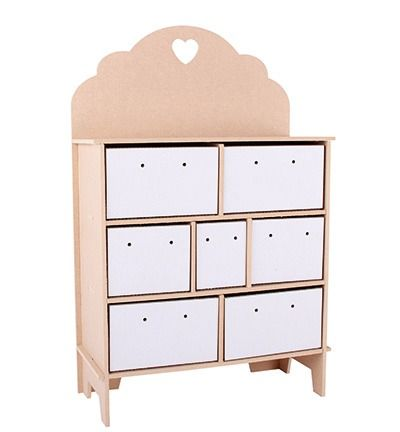 MDF 3D Chest Drawers Heart