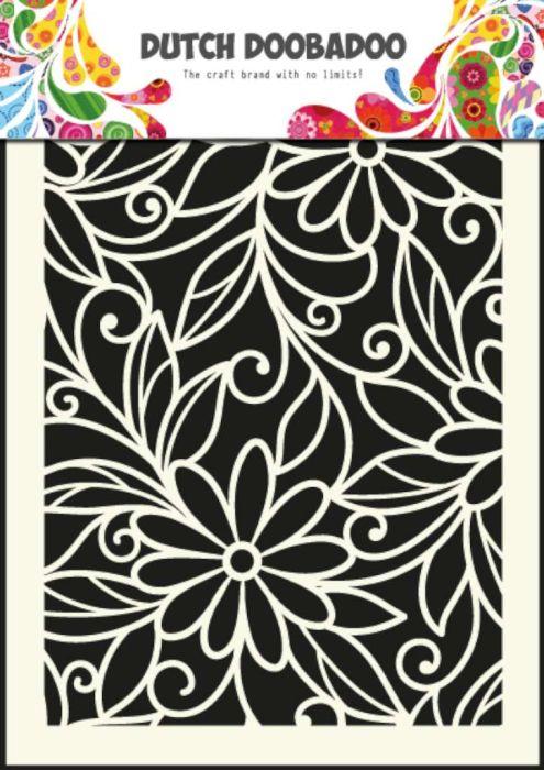 Dutch Mask Art stencil flower swirl - A5
