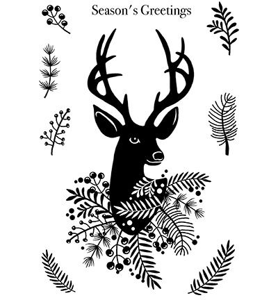 Creative Expressions Woodware Clear Stamp Jane Gill Stylish Reindeer