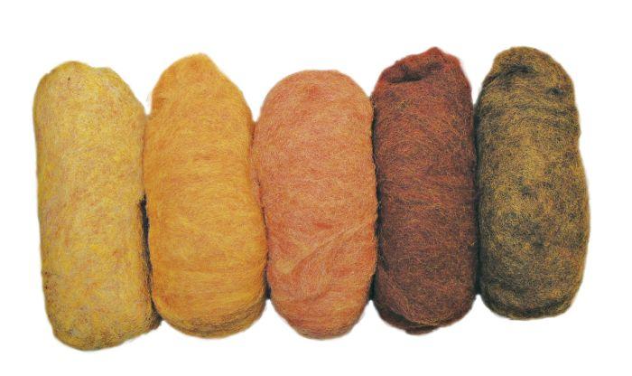 Zuivere scheerwol gemengd geel-tinten vlies 5 kleuren à 20g