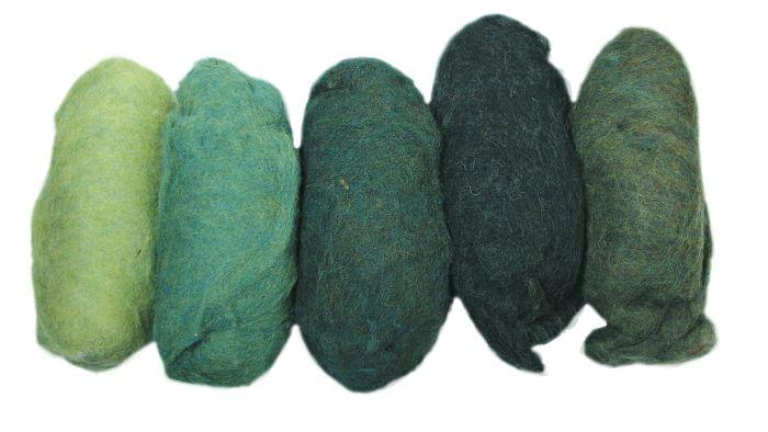 Zuivere scheerwol gemengd groen-tinten vlies 5 kleuren à 20g