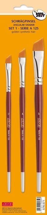 Schuine penseel-synthetisch A125. Set à 3 st.