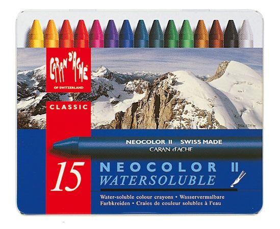 Neocolor II waspastels wateroplosbaar Metalen doos. 15 kleuren