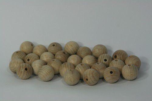 Craftemotions houten bal met gat, naturel 2cm 40 st.