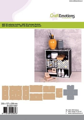 CraftEmotions MDF 3D Opberg module 230x127x259mm