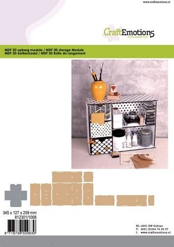 CraftEmotions MDF 3D Opberg module 345x127x259mm