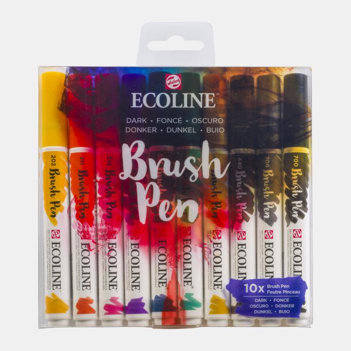 Ecoline Set van 10 Brush Pens - Donker