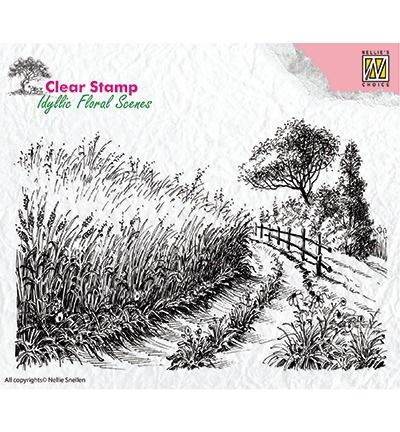 Nellie's Choice Clear Stamps idyllic floral scene Cornfield and country road