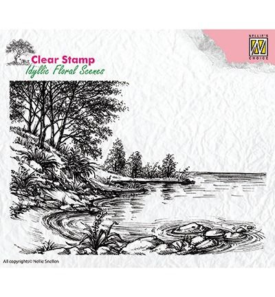 Nellie's Choice Clear Stamps idyllic floral scene Waters edge
