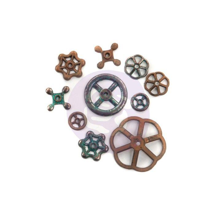 Finnabair Mechanicals Metal Embellishments Rusty Knobs 10/Pkg