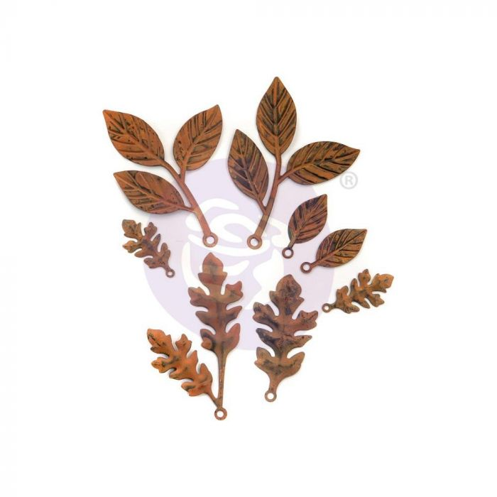 Finnabair Mechanicals Metal Embellishments Woodland Leaves 8/Pkg