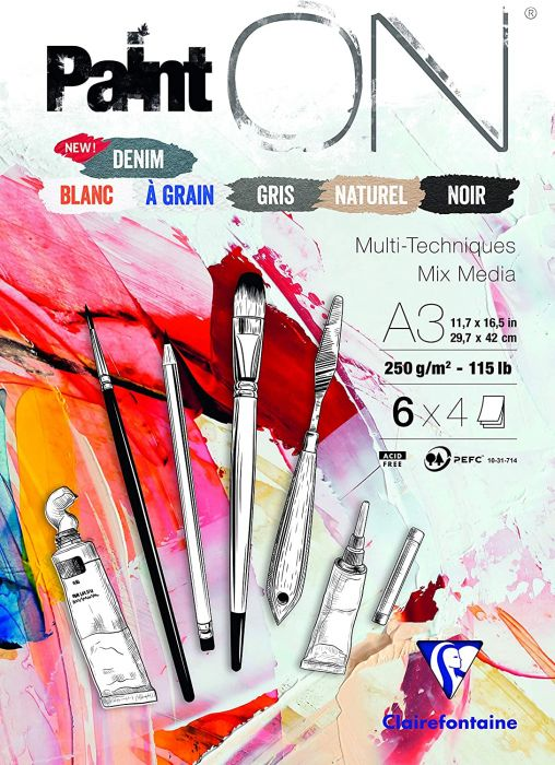 Clairefontaine Paint'On Glued Pad, A3, 250g, 24 Sheets - Assorted Colours