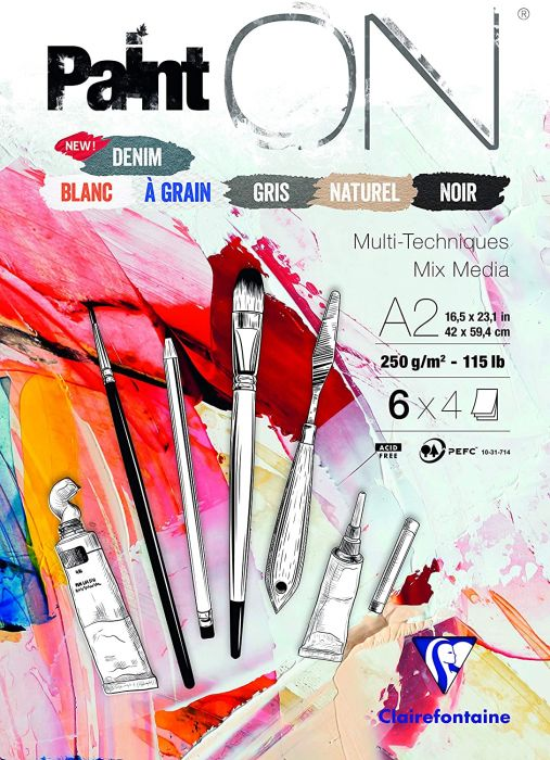 Clairefontaine Paint'On Glued Pad, A2, 250g, 24 Sheets - Assorted Colours