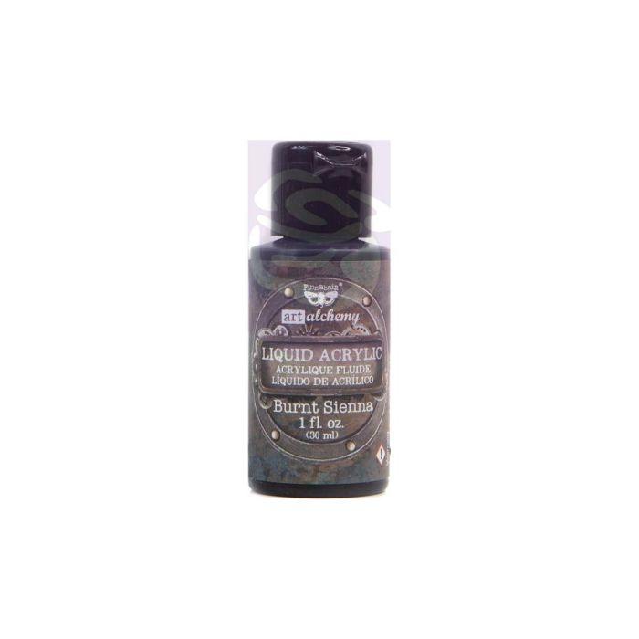 Finnabair Art Alchemy Liquid Acrylic Paint 1 Fluid Ounce Burnt Sienna