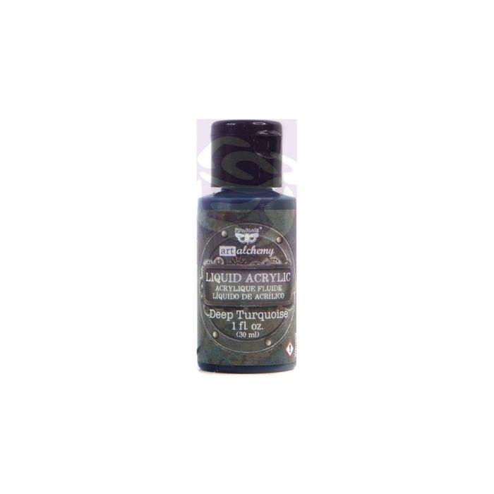 Finnabair Art Alchemy Liquid Acrylic Paint 1 Fluid Ounce Deep Turquoise