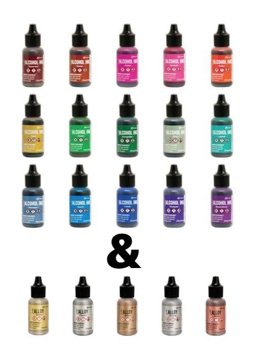 Alcohol ink actie pakket 15 nieuwe kleuren + 5 kleuren alloys